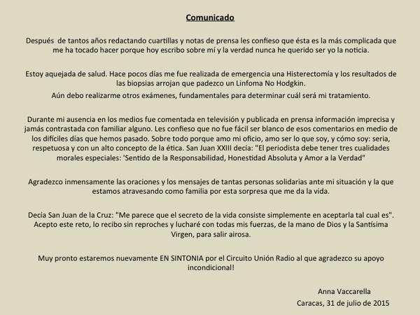 Ana Vaccarella comunicado