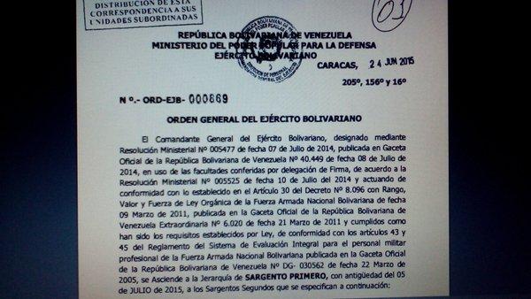 Juan Manuel Crispin es uno de los detenidos por droga en #Cojedes. Ascendido por Nicolás Maduro en 2014 – Cortesía: Rojas 2016