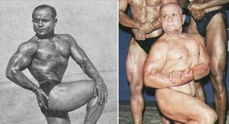 """Manohar Aich, 101 años El campeón indiscutible, un claro #1, el mejor de lo mejor (o en éste caso, el más viejo de los mejores) – Manohar Aich. El fisicoculturista indio de 101 años, el segundo ganador del título de Mr. Universo y las 3 veces medallista de oro de los Juego Asiáticos. Todos esos títulos elegantes y aun así tiene un sobrenombre lindo """"Hércules de Bolsillo"""", porque sólo medía 5 pies de alto."""