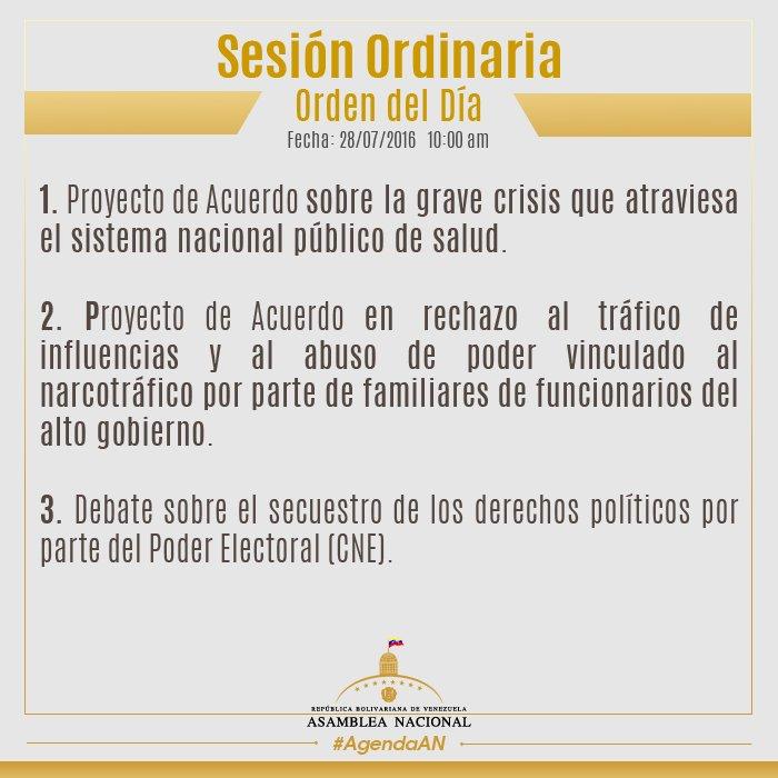 orden del día 28.07.16 en la Asamblea Nacional