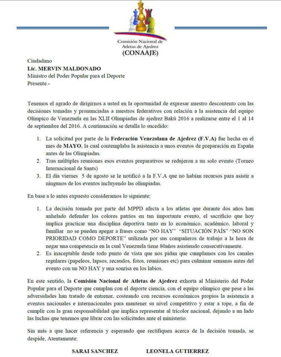 Niegan recursos a atletas venezolanos para asistir a olimpiadas de ajedrez