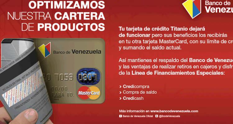 Banco de venezuela elimina la tarjeta titanio lea aqu for Hotmailbanco de venezuela