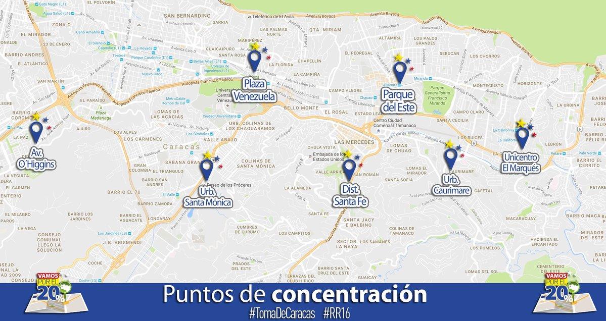 puntos de concentracion marcha 1 de septiembre 2016 tomadecaracas