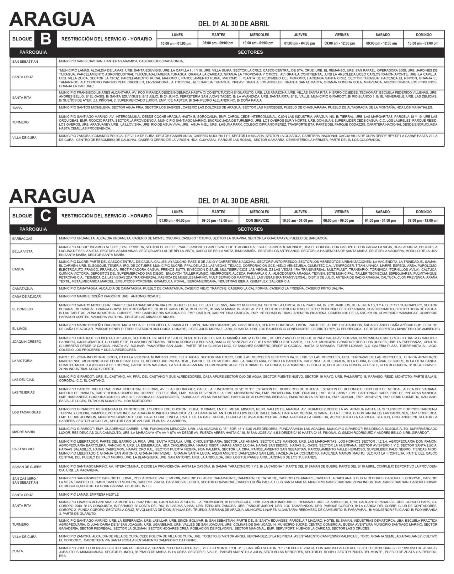 Aragua cronograma oficial de racionamiento de corpoelec for Cronograma de racionamiento de luz en aragua