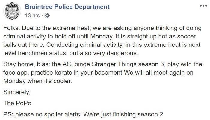 Policia de EEUU pide no delinquir hasta que pase la ola de calor