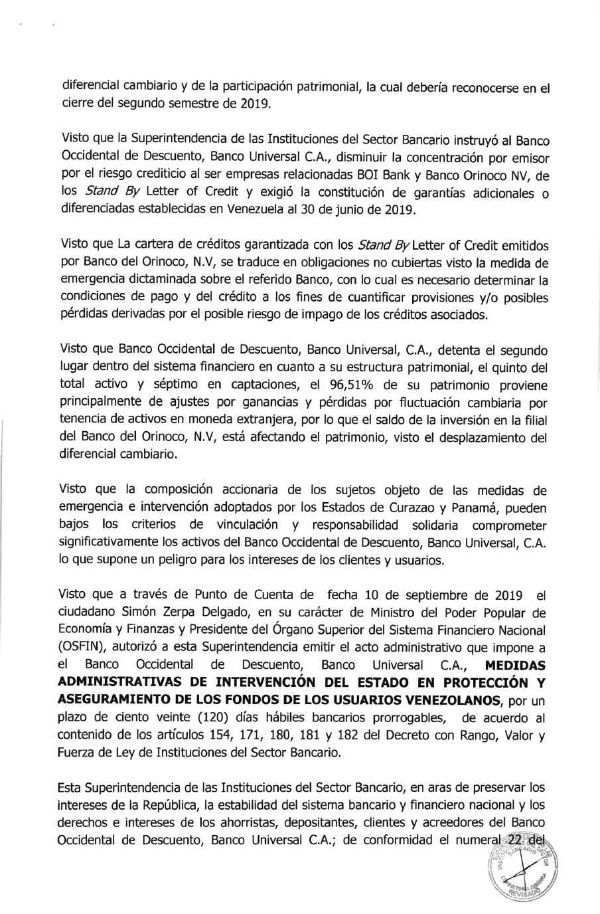 TEXTO DE LA RESOLUCION DE INTERVENCION DEL BOD