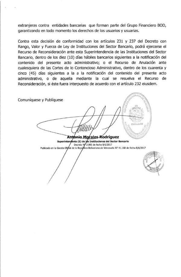 TEXTO DE LA RESOLUCION DE INTERVENCION DEL BOD