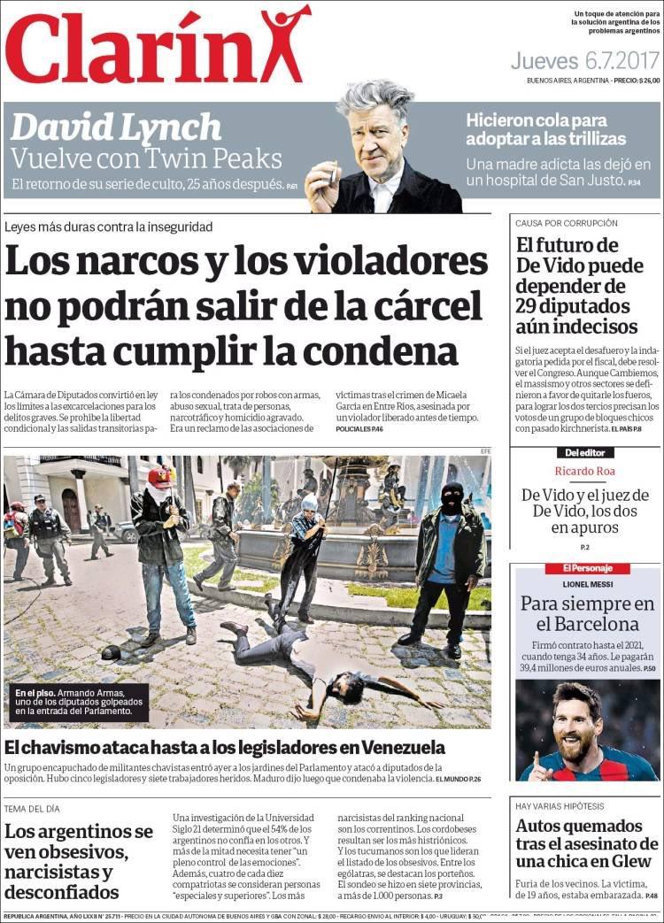 El Clarin de Argentina, Así reseñó la prensa internacional el Ataque a la Asamblea Nacional Venezolana