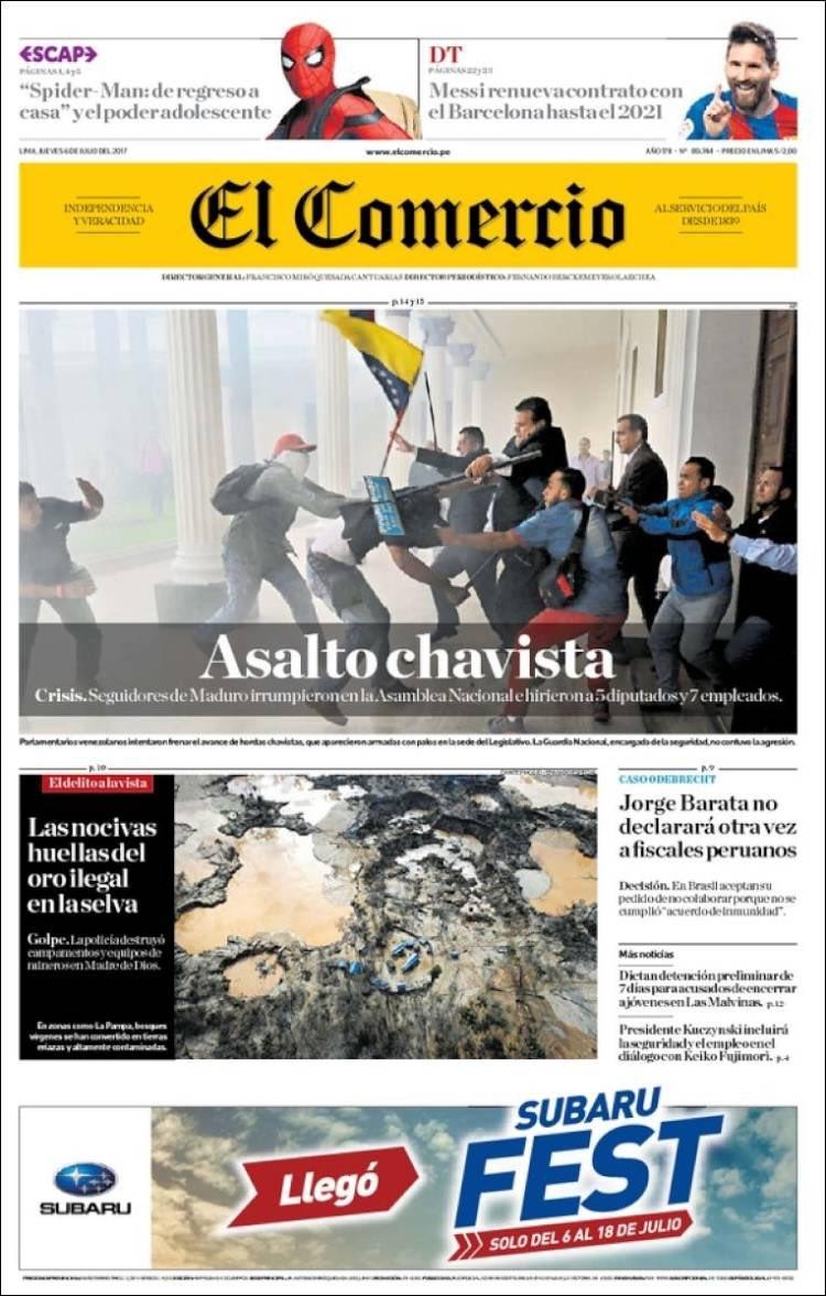 El comercio de Peru reseña asalto a la asamblea, Así reseñó la prensa internacional el Ataque a la Asamblea Nacional Venezolana
