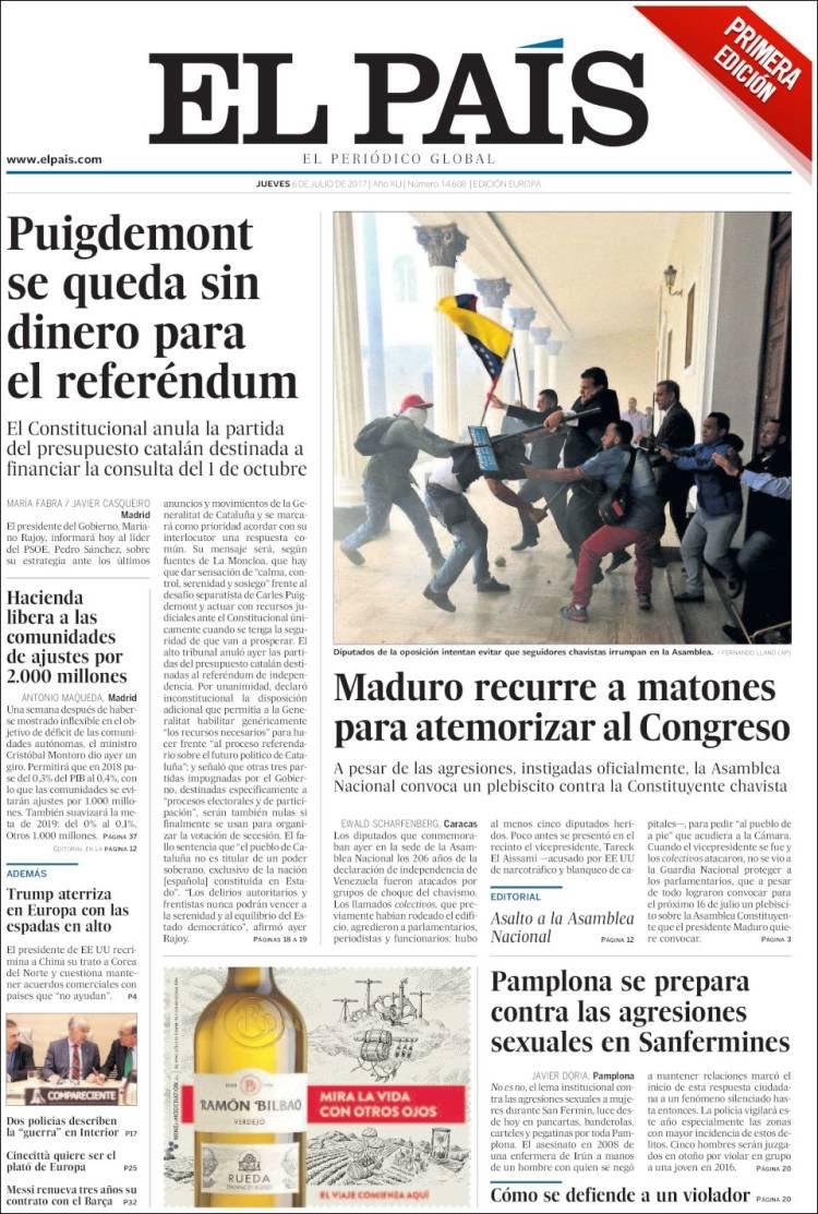 El pais de españa titula sobre el asalto a la asamblea, Así reseñó la prensa internacional el Ataque a la Asamblea Nacional Venezolana
