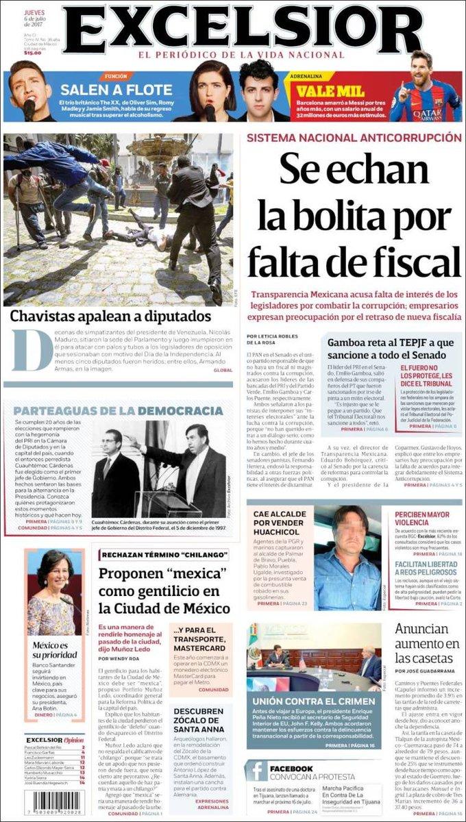 Periodico El Excelsior de Mexico, Así reseñó la prensa internacional el Ataque a la Asamblea Nacional Venezolana