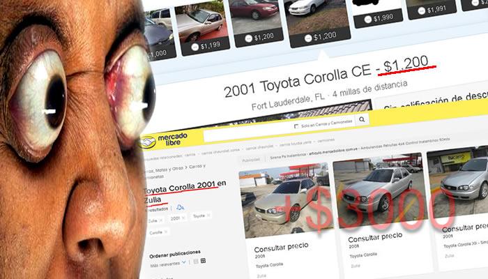 Carros usados en Venezuela se pretenden vender en dolares más caros que en EEUU