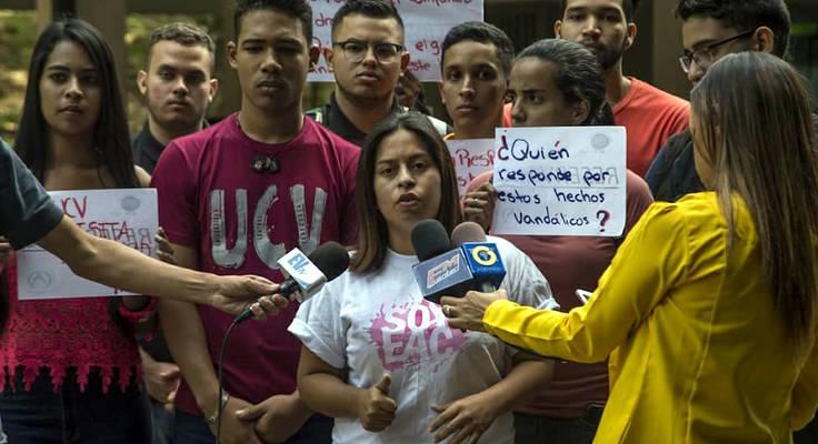 estudiante de la ucv protestan por la inseguridad en caracas