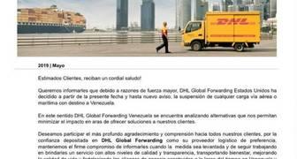 comunicado de dhl suspendiendo operaciones de eeuu a venezuela