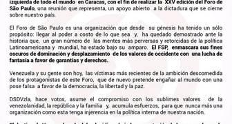 El movimiento DSDVzIa fija posición sobre el Foro de Sáo Paulo