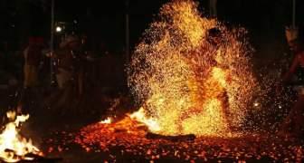 BAILE EN FUEGO 12 DE OCTUBRE MONTAÑA DE MARIA LIONZA VENEZUELA