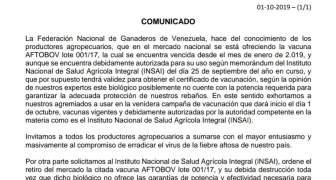 Fedenaga llama a los productores a sumarse al compromiso de erradicar la Fiebre Aftosa