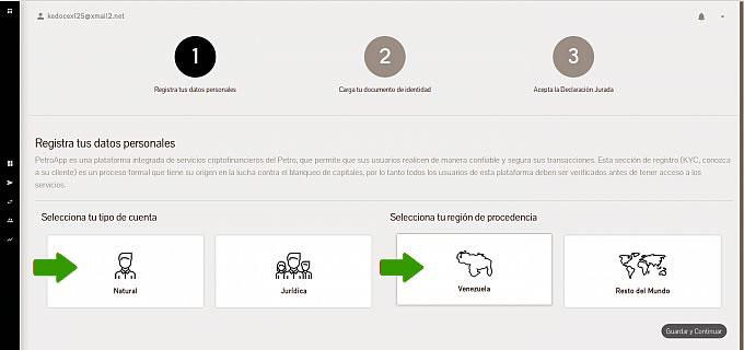 PETRO APP SELECCIONAR TIPO DE CUENTA