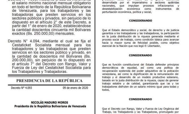 AUMENTO DE SALARIO MINIMO EN VENEZUELA ENERO 2020 250MIL