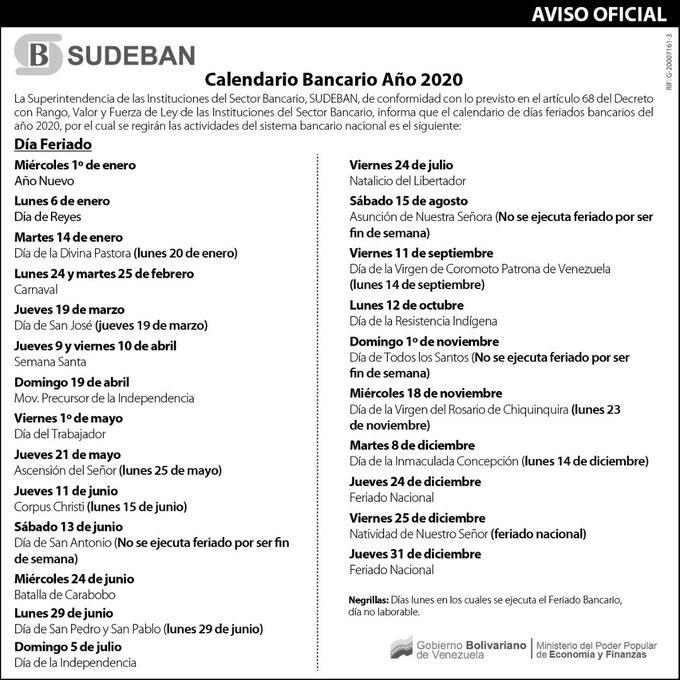 CALENDARIO BANCARIO VENEZOLANO 2020