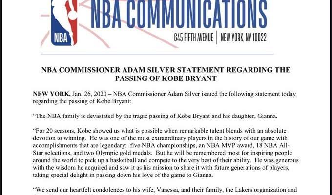 Comunicado de la NBA sobre lo sucedido a KOBE BRYANT y a su hija Gianna