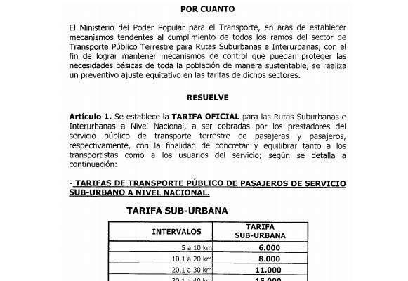 Entra en vigencia TARIFA OFICIAL de pasajes Sub-Urbanos