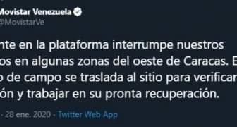 Movistar reporta Caída de su señal en la Gran Caracas