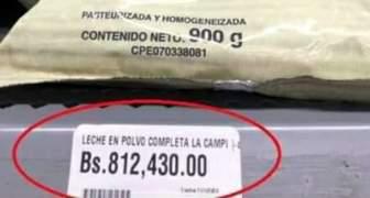 Qué está comiendo el venezolano cuando un miserable 900 gramos de leche lo venden Bs.812430 o más $10 dólares