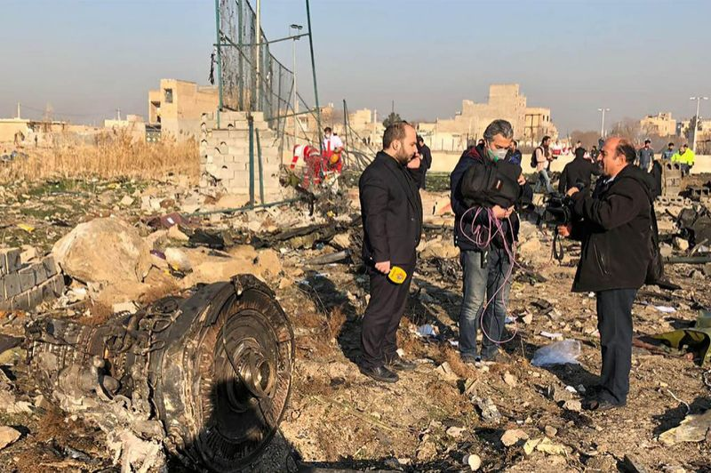 Restos del Boeing siniestrado de Ukraine International Airlines en Shahedshahr, Irán, el 8 de enero de 2020.