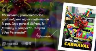 BONO DE CARNAVALES, ASIGNACION VIA CARNET DE LA PATRIA 2020