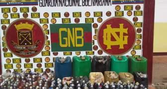 GNB incautó 1.450 litros de combustible ilegal y drogas en el estado Bolívar
