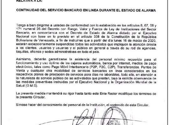 Bancos en Venezuela cierran operaciones por taquilla hasta nuevo aviso