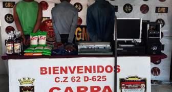 GNB capturó a tres ciudadanos por hurto en Unare estado Bolívar