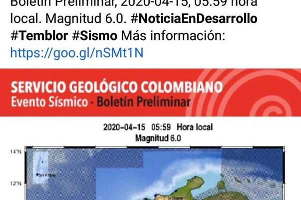 TERREMOTO EN COLOMBIA 15 ABRIL 2020
