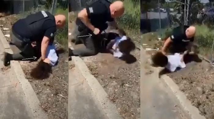 Un policía supremacista blanco golpeó salvájemente a un niño afroamericano de 14 años