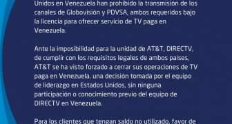 DirecTV cerró operaciones en Venezuela, Comunicado