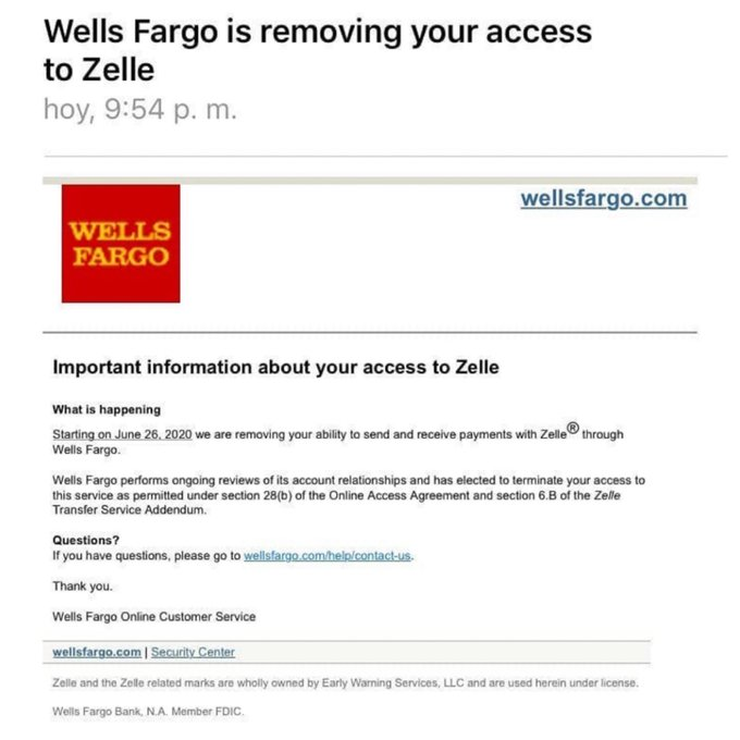 Notificación enviada a clientes de Wells Fargo con dirección en Venezuela