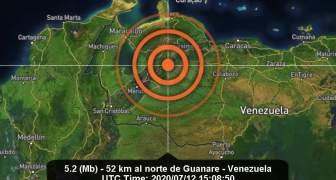 TEMBLOR VENEZUELA DOMINGO 12 DE JULIO 2020 5 MAGNITUD