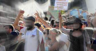 PROTESTA CONTRA MASCARILLAS EN MADRID ESPAÑA AGOSTO 2020