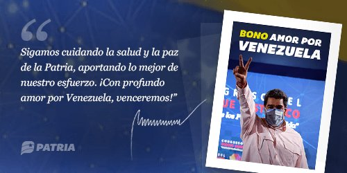 El gobierno de Venezuela Inicia la entrega del Bono Amor por Venezuela