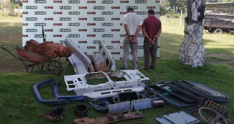 GNB aprehendió a dos sujetos dedicados al hurto de partes y piezas de vehículos