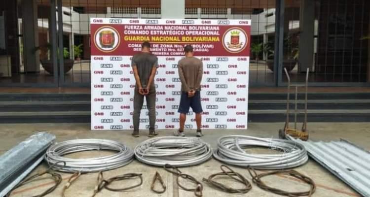 GNB detiene a cuatro sujetos dedicados al hurto de material estratégico en Macagua