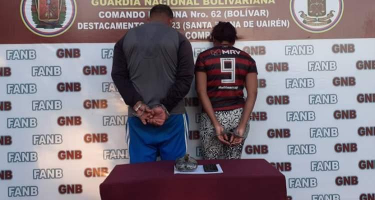 GNB detiene a dos personas con presunta panela de marihuana