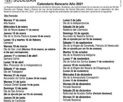 Sudeban Calendario bancario para el 2021