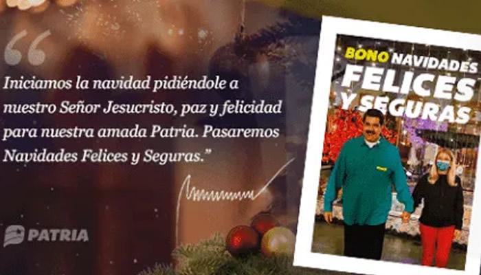 BONO NAVIDADES FELICES Y SEGURA CARNET DE LA PATRIA