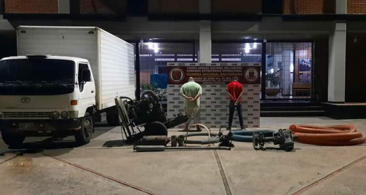 Con materiales y equipos de minería ilegal GNB aprehendió a dos ciudadanos