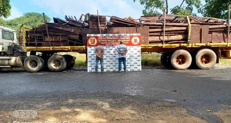 Aprehendidos por la GNB por transportar 15 toneladas de chatarra