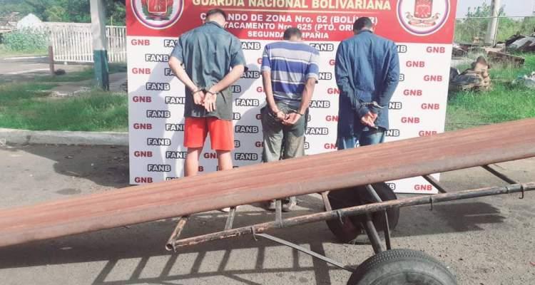 GNB capturó a 3 sujetos con tubos petroleros en la empresa SIDOR