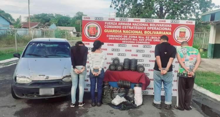 GNB detiene a cuatro personas por tráfico de material estratégico en Bolívar