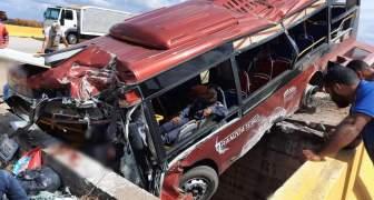 Accidente de autobús deja seis muertos y 15 heridos